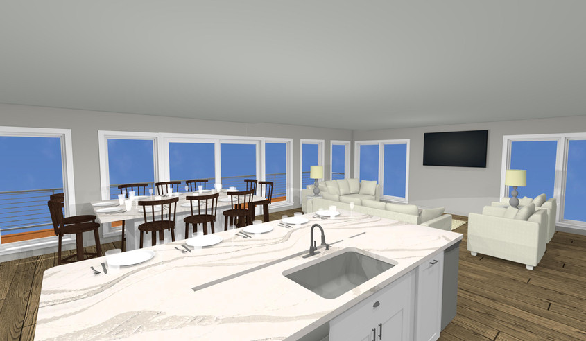 Ocean Front Custom Home Kitchen Living R