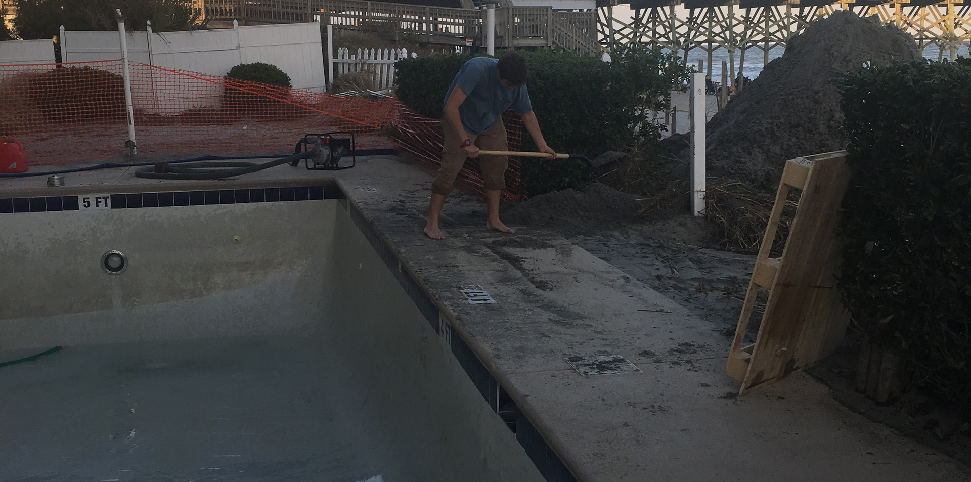 Pool after sand removal