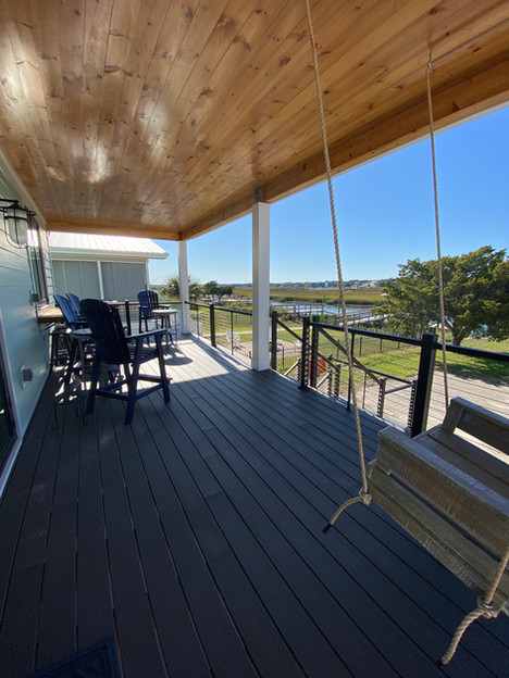 Deck with Shiplap Ceiling and Cable Rail