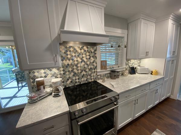 Custom Shaker Kitchen with Cambriz Quartz Countertops