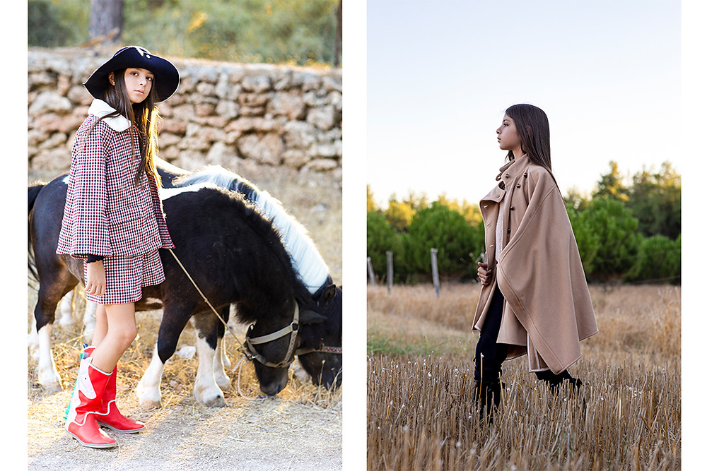 Left look - hat LANVIN, shorts and coat CHLOE, boots STELLA MCCARTNEY; Right look - pants and cape CHLOE