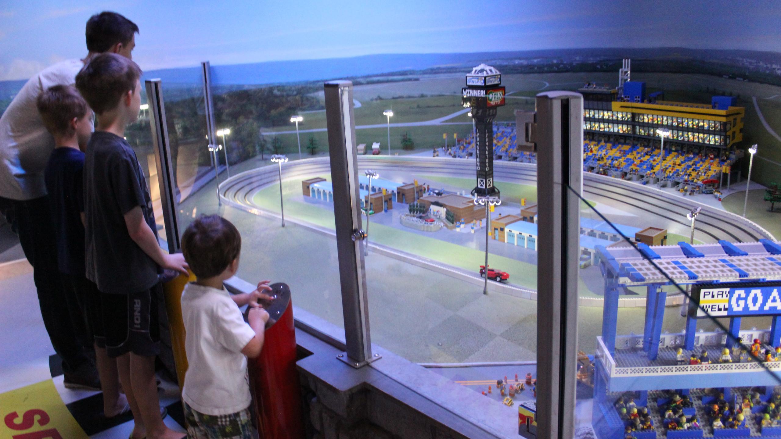 MINILAND Kansas Speedway built in LEGO bricks at the LEGOLAND Discovery Center in Kansas City