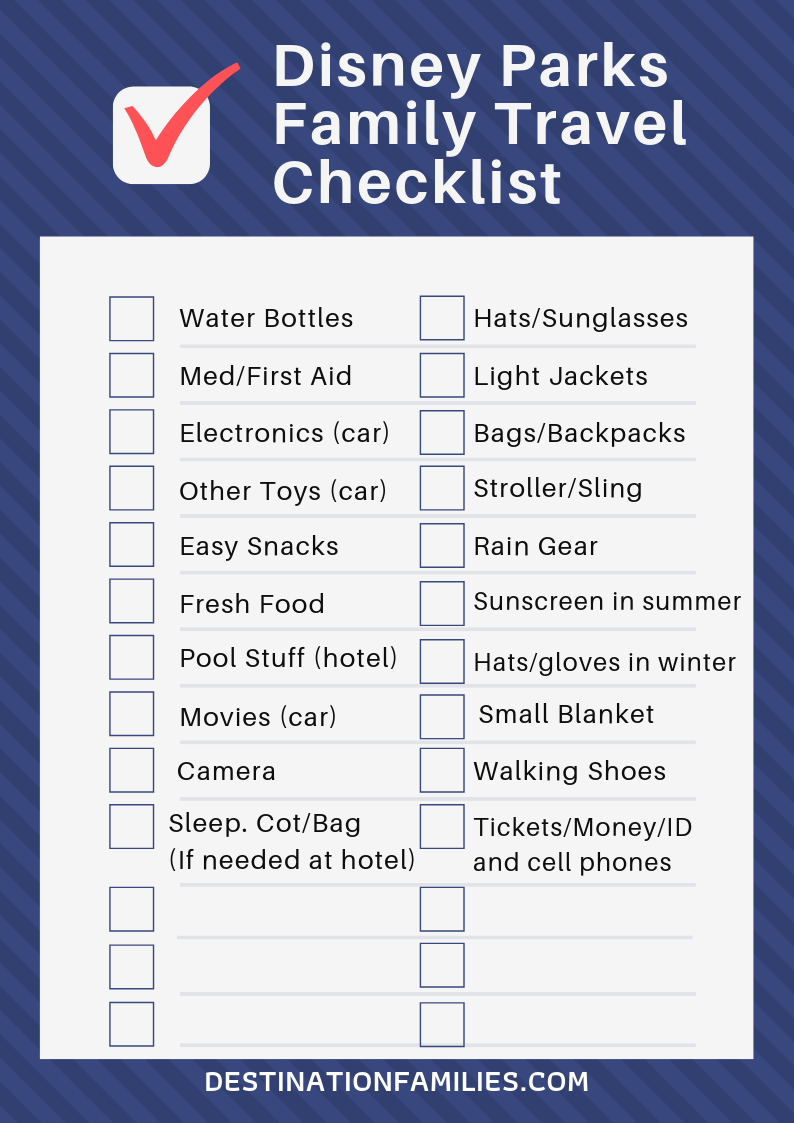 What to Pack for Disney Parks Checklist