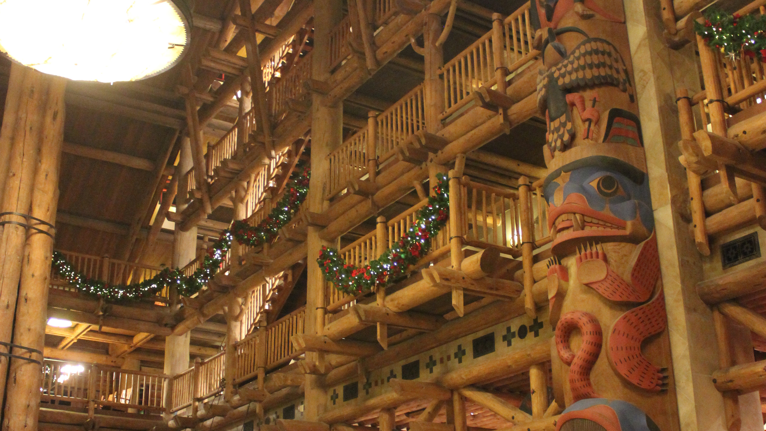 Wilderness Lodge lobby decorated for Christmas
