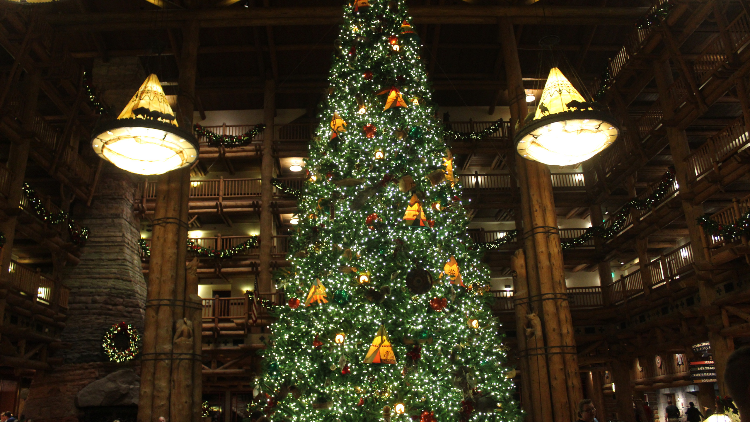 Wilderness Lodge at Disney World lobby decorated for Christmas