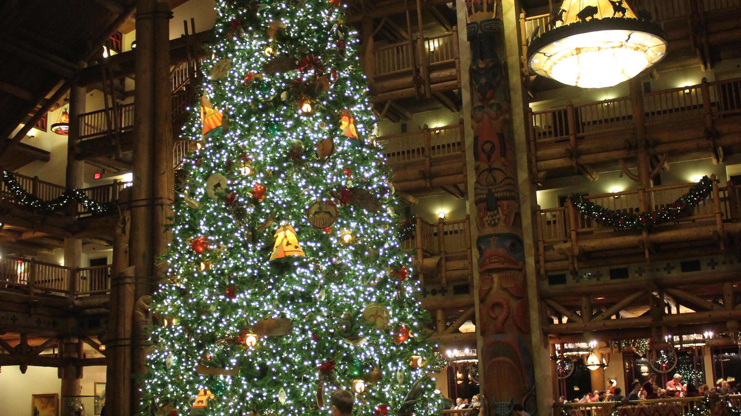Christmas tree at Disney's Wilderness Lodge at Walt Disney World