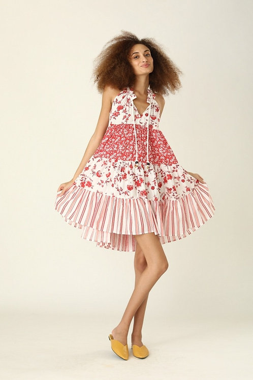 Short Sofia Dress - Provence (Red and Blue)