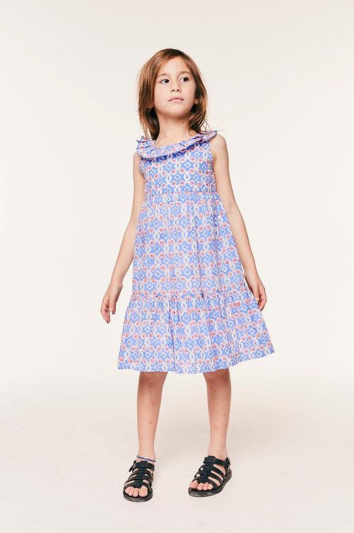 Girls Bambi Dress Ofelia Blue and Flora Pink