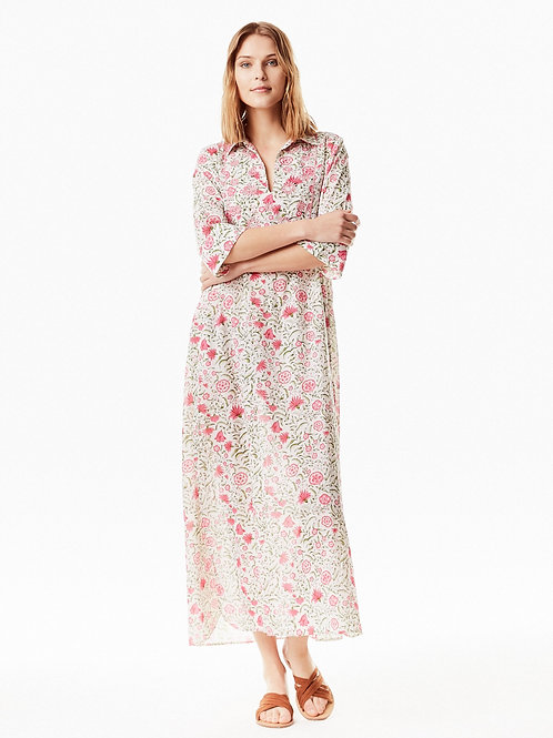 Bella Emb Long Dress - Flora Pink and Aqua