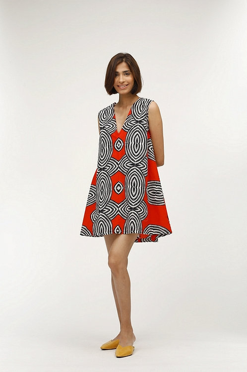 Marnie Dress - Paule (Blue and Red)