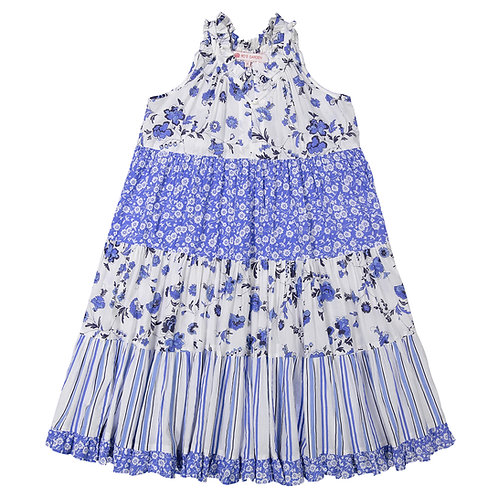 Sofia Dress (Girls) - Provence (Blue and Red)