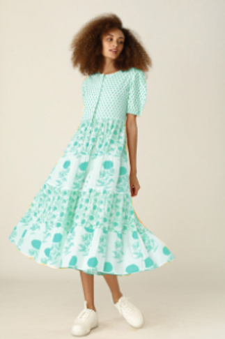 Daphne Dress - Pomme (Turquoise and Coral))