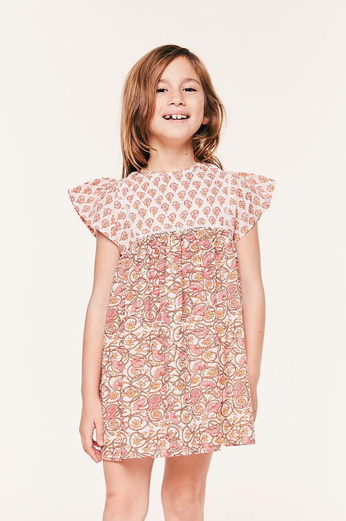 Susannah Dress (Girls) - Mixed Floral Coral