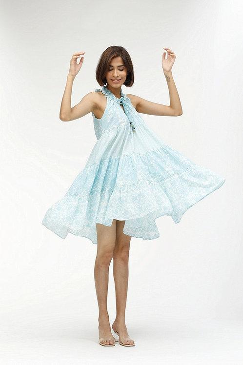 Short Sofia Dress - Pauline (Blue and Coral)