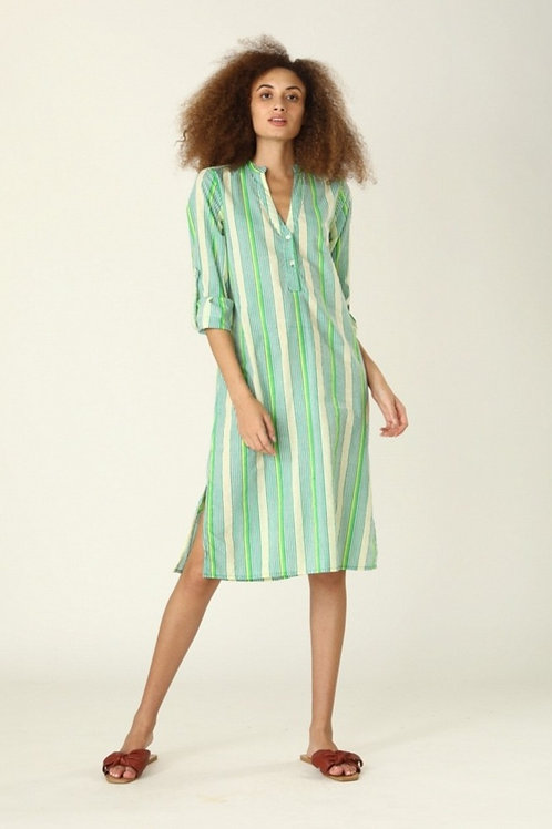 Bonita Shirt Dress - Green Stripe