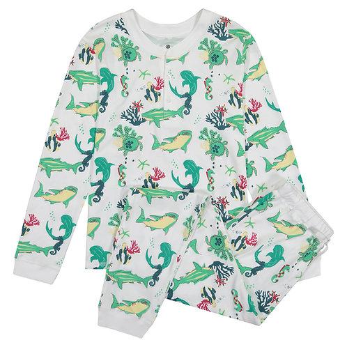 Cameron Kids Pajamas - Jawsome (Aqua and  DeepBlue)