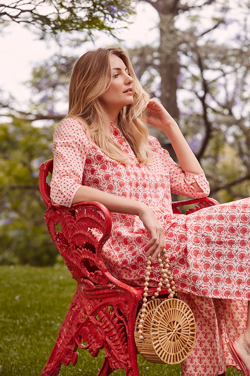 Brooklyn Long Dress (Multi-floral - Peach))