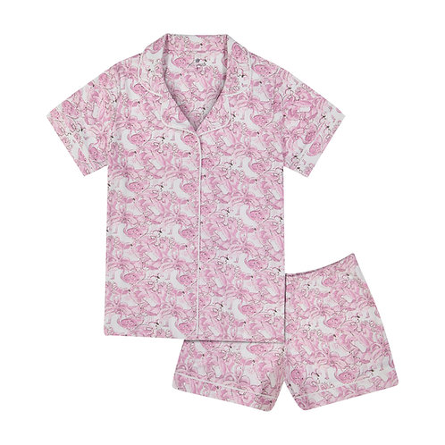 Cora Short Sleeved Pajama Set in Fancy Flamingo