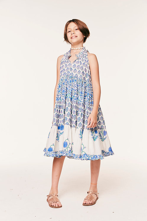 Girls Sofia Ruffle Dress Mixed Floral Cornflower