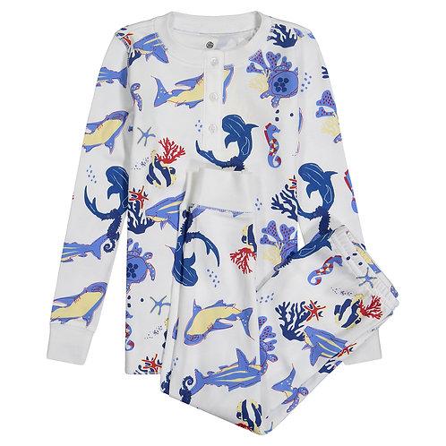 Pippa Women's Pajamas - Jawsome (Aqua and Deep Blue)