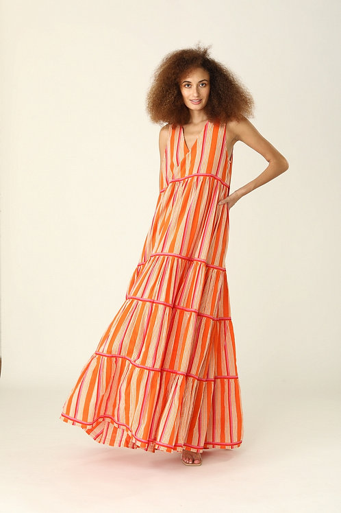 Chennai Dress - Nina (pink or blue stripes)