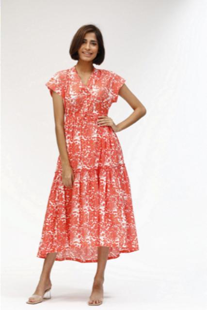 Mumi Dress - Pauline (Coral and Light Blue)