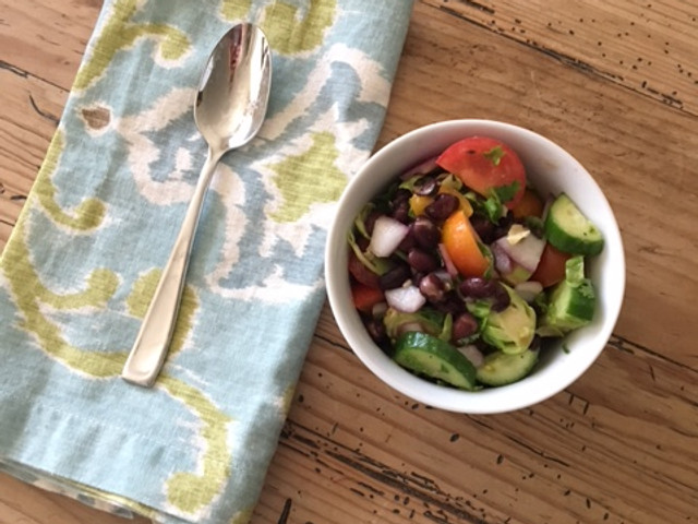 15 Minute Bean, Shaved Brussels & Heirloom Tomato Salad