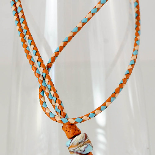 Braided leather lanyard with Artisan glass bead