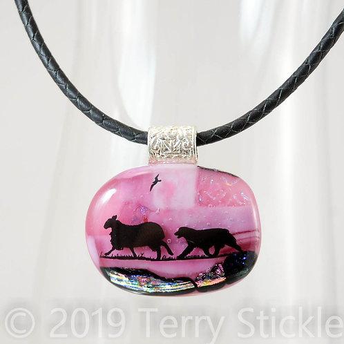 Australian Shepherd Silhouette Fused Glass Pendants