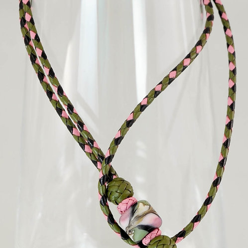 Braided Leather Lanyard with Artisan Bead