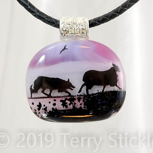 Border Collie Silhouette Fused Glass Pendants