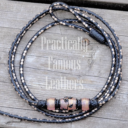 """6 Plait 48"""" Show lead with Artisan Beads"""
