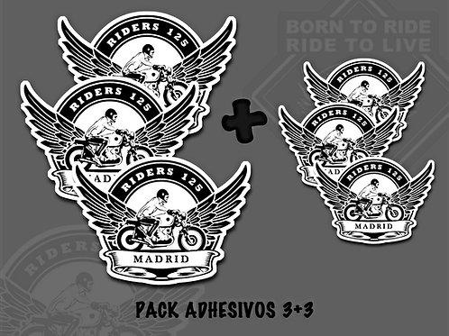 PACK ADHESIVOS 3+3 (Riders 125 Madrid)