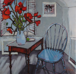 Blue Chair and Poppies in the Studio   LEXMUTT085