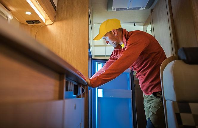 Technician inside RV
