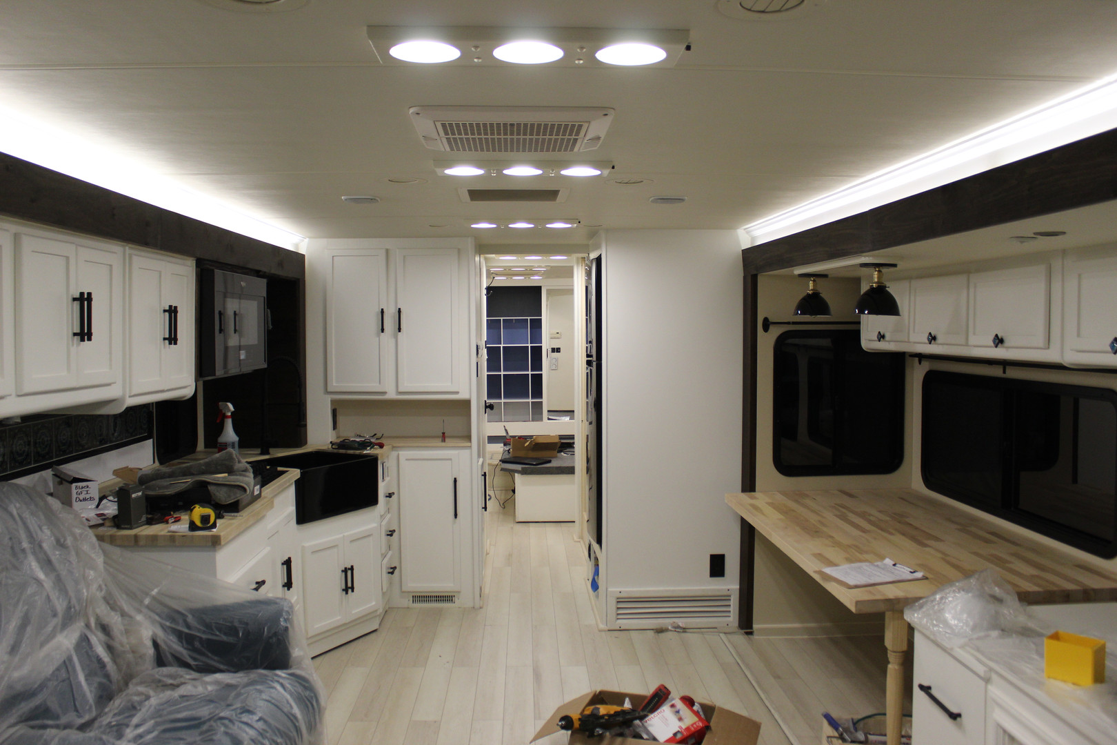 After - Full Living Space with Custom Overhead LED Lighting