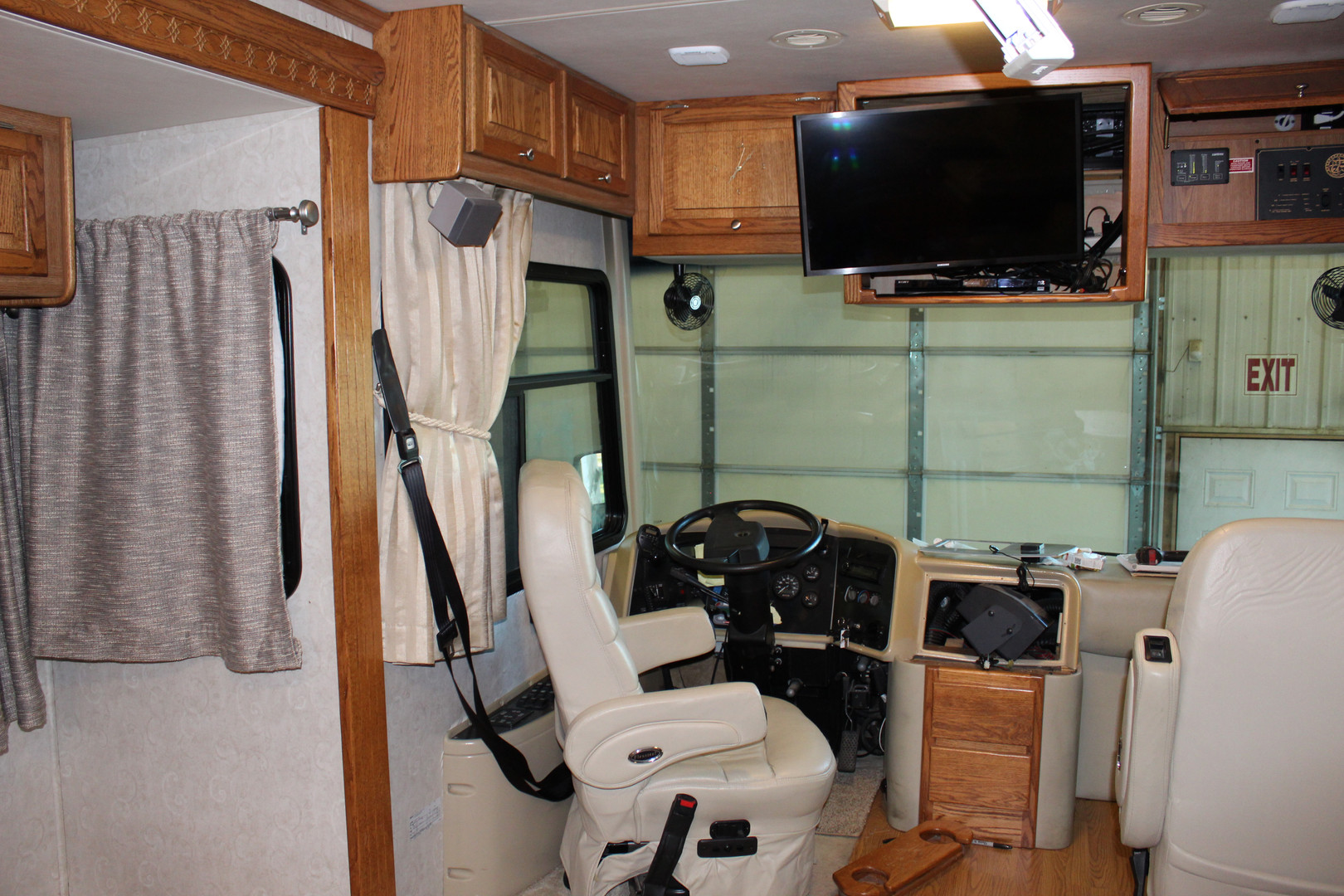 Before - Cockpit with TV Hanging Out