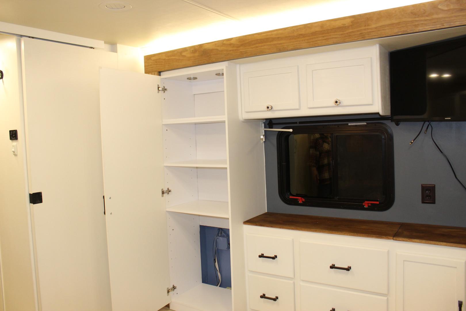 After - Bedroom Storage with Lighting and Power Supplies for Mobile Office