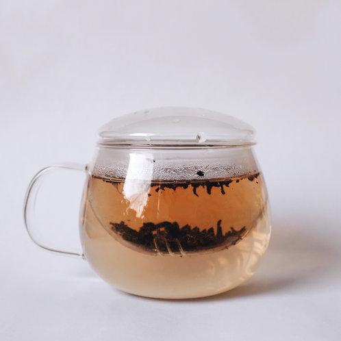 Стеклянная чашка с ситом и крышечкой для заварки