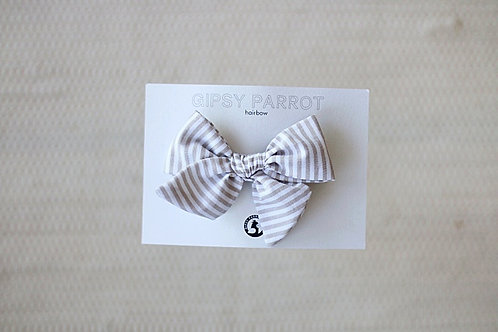 Beige stripes bow pin