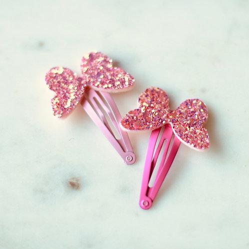 Butterfly pins, glitter pink 2 pcs