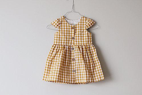 Yellow Vichy Vintage button dress