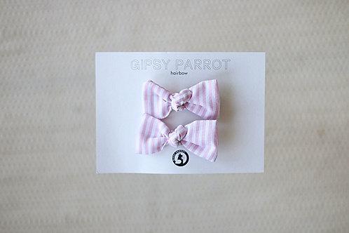 Light pink stripes baby pinnit 2kpl