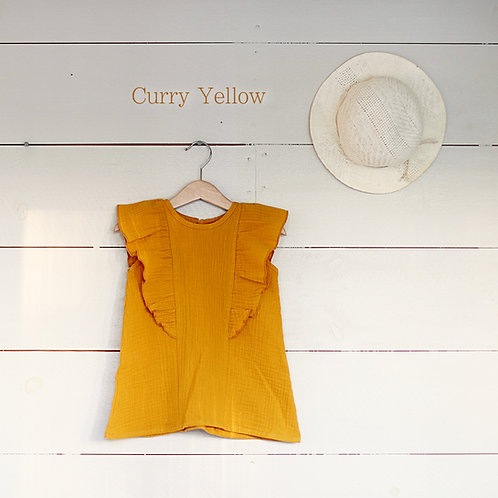Ruffle Dress Mini Curry yellow