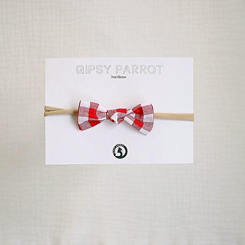 Red Gingham Baby knot -panta