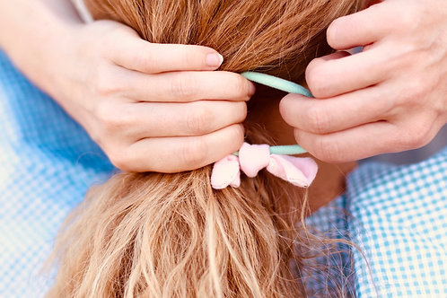 Mint & light pink hairbands x 2