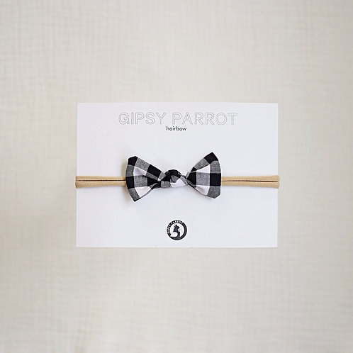 B&W Gingham Baby knot -panta