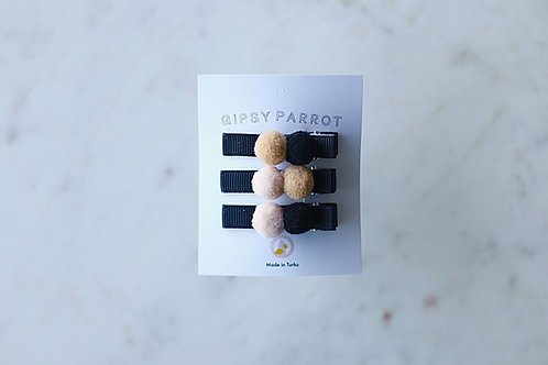 Black Pom Pom pins x 3