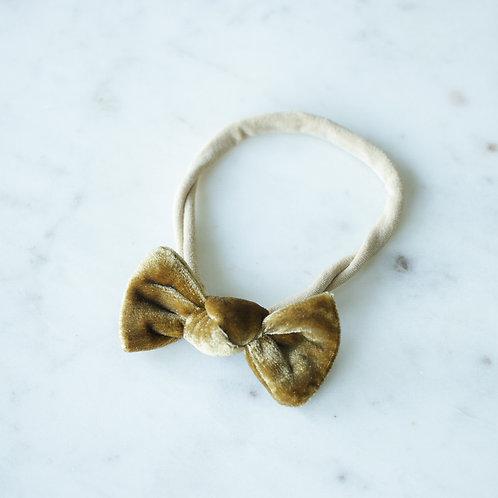 Gold velvet baby knot-panta