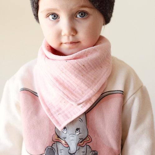 Peachy pink & gold  boho scarf